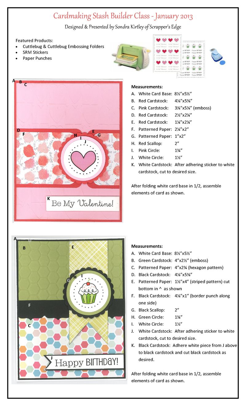 Cardmaking Stash Builder January 2013 BDay & VDay