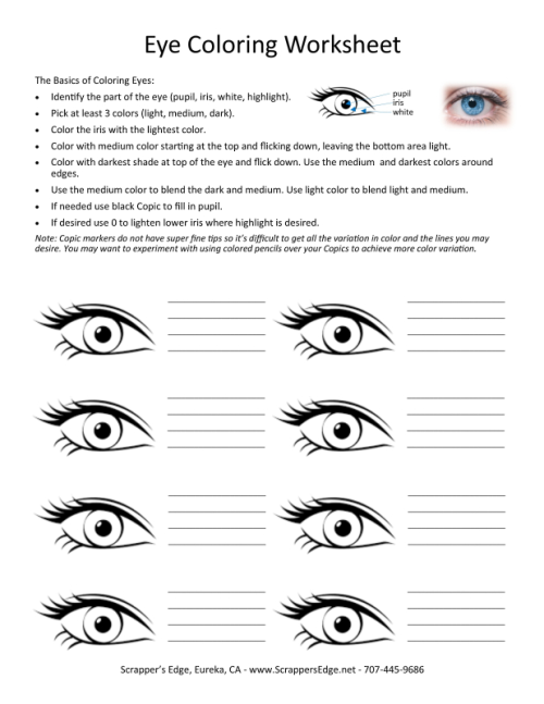 SE Copic Eyes Coloring Notes with Instructions