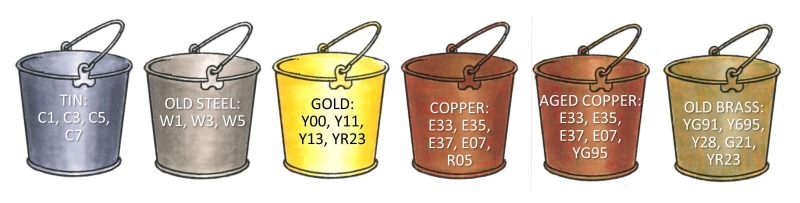 Copic Metal Class Overview colored bucket examples in a row